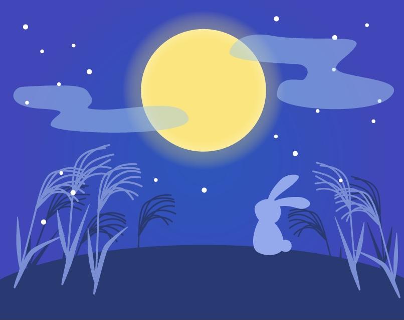 9月のポジベビアート テーマは「お月見」